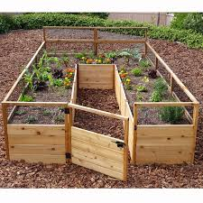 Raised Garden Bed With Bench Seating Outdoor Living Today 8 Ft X 12 Ft Western Red Cedar Raised Garden