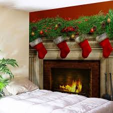 christmas fireplace print tapestry wall hanging art colormix w