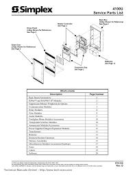 simplex 4100u service parts list rev d