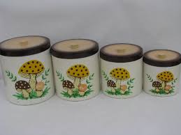 vintage canisters for kitchen retro melmac kitchen canisters 70s vintage mushrooms print pattern