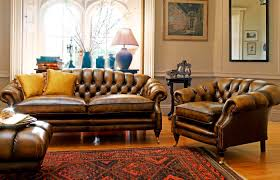Leather Sofa And Armchair Furniture Saddle Leather Sofa With Leather Chesterfield Sofa And