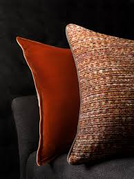 Silk Peacock Home Decor Silk Velvet Burnt Orange Cushion And Persia Cushion In Pomegranate