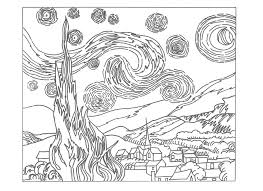 starry night coloring page fablesfromthefriends com