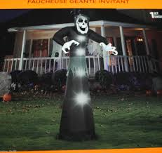 Halloween Inflatables Videos by Airblown Giant Beckoning Skull Reaper Light Up 10 U0027 Foot Tll