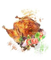 whole turkey watercolor digital painting of roasted whole turkey with salad