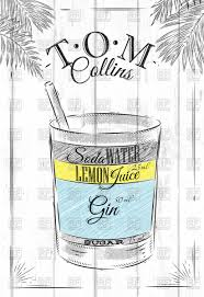 cocktail drawing tom collins poster cocktail in vintage style vector clipart image