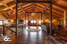 pole barn homes interior workshop with living quarters in daggett michigan dc builders