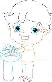 Hand Washing Coloring Sheets - kid washing hands coloring page illustration stock vector art