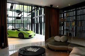 Garage Interior Ideas White Floor For Garage Interior Design Ideas With Glass Wall
