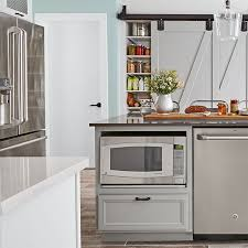 microwave in kitchen island modern farmhouse kitchen design 102707397 left jpg