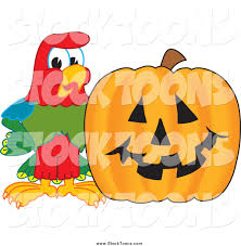 halloween pumpkin cartoons stock cartoon of a macaw parrot with a halloween pumpkin by
