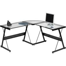 glass top l table glass top l shaped desk shop white with computer ishoppy