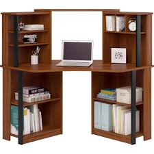 Wood Corner Desk With Hutch Mainstays Corner Work Station Inspire Cherry Black Finish