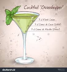 martini mint grasshopper alcoholic cocktail consisting cocoa liqueur stock