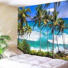 sapphire blue w79 inch l59 inch seaside coconut tree wall rosegal