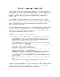 Quality Assurance Resume Sample Resume Sample Quality Assurance Specialist Augustais