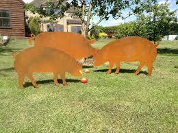 boar metal pig garden pig decor pig gift pig