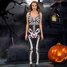 Womens Skeleton Costume Women U0027s Skeleton Costume Bones Sleeveless Jumpsuit Bodysuit