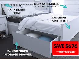 White Tallboy Bedroom Unit Dandenong Bedroom Suites Storage Bed Queen B2c Furniture