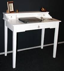 Schmaler Schreibtisch Aus Holz Sekretär 100x91x57cm 1 2 Schubladen Pappel Massiv Weiß Lackiert
