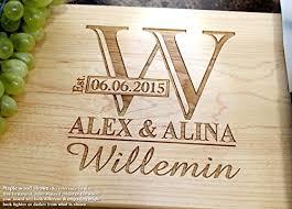 wedding cutting board monogram personalized engraved cutting board wedding gift