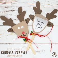 free printable template reindeer puppet greeting cards kids