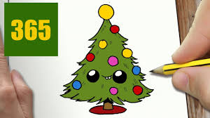 how to draw a christmas tree cute easy step by step drawing