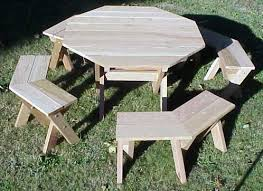 Plans For Building A Wood Picnic Table by Incredible Wooden Octagon Picnic Table 49 Red Cedar Octagon Picnic