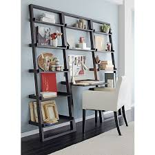 crate and barrel ladder desk sloane grey leaning bookcase in bookcases cabinets crate and