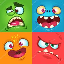 Monster Faces For Halloween Cartoon Monster Faces Set Vector Set Of Four Halloween Monster