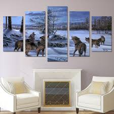 wolf home decor home decor canvas painting abstract modular 5 panel wolf on the