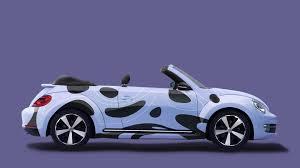 volkswagen beetle purple car branding free mockup morepsd com