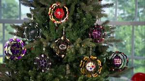 nfl set of 3 geo spinner ornaments with gift bag page 1 qvc