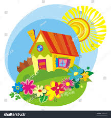 rural background cute little house vector stock vector 48046132