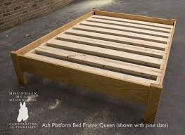 custom made simple queen size platform bed frame hardwoods ash