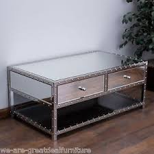 mirrored glass coffee table living room furniture mirrored glass coffee table w 2 drawers