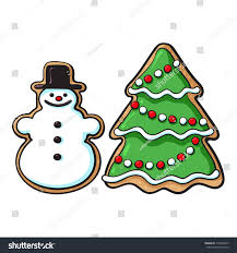 glazed snowman christmas tree gingerbread cookies stock vector