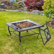 Firepit Grill Outdoor Metal Pit Patio 34 Square Wood Burning Firepit Grill Bbq