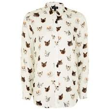 cat blouse topshop sleeve multi cat print shirt fashion featuring