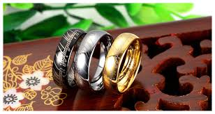 matching wedding bands for him and lotr engraved his and hers matching wedding ring bands in 18k gold