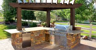 Outdoor Kitchen Design Software Outdoor Kitchen Grills And Beige Cement Concrete Counter Island