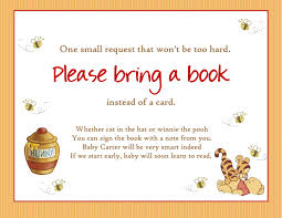 Baby Shower Invitations Bring A Book Instead Of Card Winnie The Pooh Baby Shower Bring A Book By Createphotocards4u