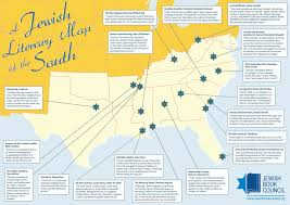 Map Of North And South Carolina Jewish Literary Map Of The South