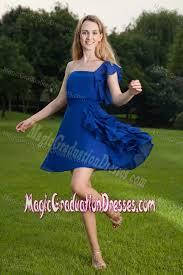 graduation dresses 5th grade one shoulder blue ruffled mini graduation dresses for 5th grade