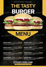 menu flyer template burger menu psd flyer template 18594 styleflyers