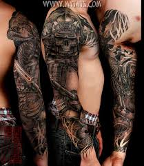 collection of 25 3d mechanic skull tattoos on sleeve