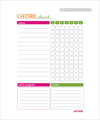 chore list template 11 sle weekly chore chart template free sle exle