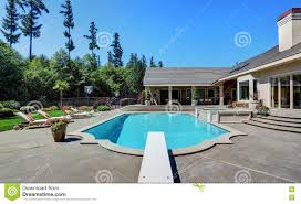 great backyard with swimming pool american suburban luxury house