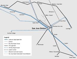 san jose light rail map transit in the valley spur