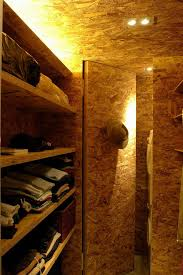 good looking looking cedar closet with oriented strand board wall